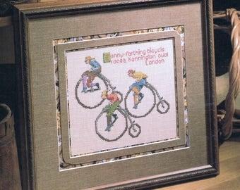 CROSS STITCH PATTERN  - Antique Bicycle Race Counted Cross Stitch Pattern - Penny Farthing Cross Stitch - Sports Cross Stitch