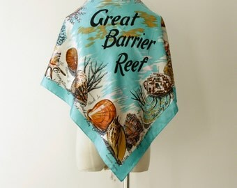 Australia tourist scarf. Australian Souvenir scarf. Queensland scarf. Tropical scarf. 1970s blue vintage scarf. Great Barrier Reef. Aussie