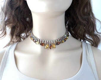 Citrine Crystal Necklace Brown Rhinestone Choker Root Beer Smoky Topaz Rhinestone Yellow Matching Earring Vintage Jewelry Set