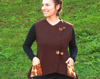 UPCYCLED BLANKET WAISTCOAT, Handmade, Woollen, Vest, Natural Dyed, Pockets, Natural Buttons, Australian Made