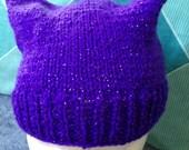 Purple Sparkly Hat Purple Sparkly Beanie Pussy Cat Ears Hat Cat Ears Beanie Hat Light Beanie Hat Purple Skull Cap Sparkly Skull Cap