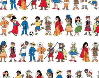 One World Fabric, Kids of the World, Children - We Share One World by Whistler Studio for Windham 42715 X - Priced by the half yard