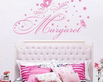 Name Wall Decal. Girls Name Decal. Personalized Name Stickers. Butterfly Name  Decal. Part 51