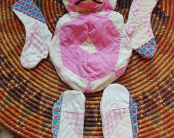 "VTG Quilt Bear Cutout in Need of Stuffing Pink White Blue Red For the Craft Lover Baby Gift Hand Made 21"" tall"