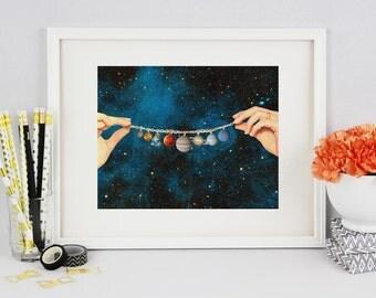 Solar System Print - Poster art - Planet Poster - Surreal art Universe