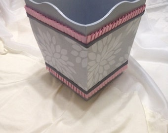 Waste paper basket etsy for Bedroom waste baskets decorative