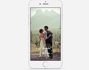 Snapchat Geofilter, Wedding Snapchat Geofilter, Foliage Wreath Geofilter, Custom Wedding Snapchat Filter, Mountain Wedding Filter, Green