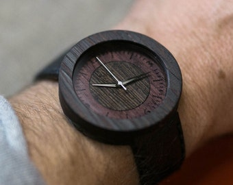Black Wenge minimal wood watch , Majestic Watch,  Black Genuine Leather strap + Any Engraving / Gift Box. Anniversary  gift