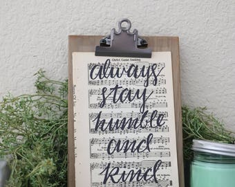 Hand Lettered Hymnal Page
