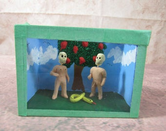 Day of the Dead Folk Art Adam and Eve Miniature Shadowbox Skeletons Mexico Diorama Primitive Art