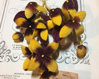 Vintage velvet yellow brown millinery flowers Retro