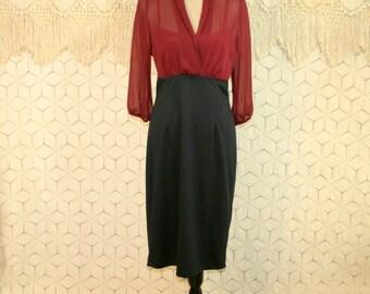 High Waisted Dress Empire Waist Knit Dress Red Black Colorblock Dress Midi Dress Chiffon Sheer Sleeves Classy Small Medium Womens Clothing