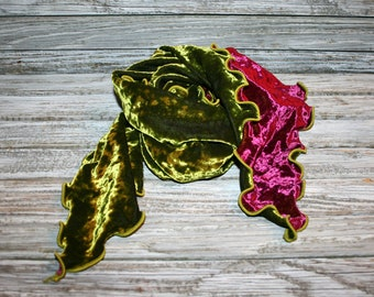 Velvet Scarf Green Purple Burgundy Ruffled Gypsy Boho Womens Scarves Fall Scarf Winter Scarf Gypsy Scarf Boho Scarf Boho Accessories