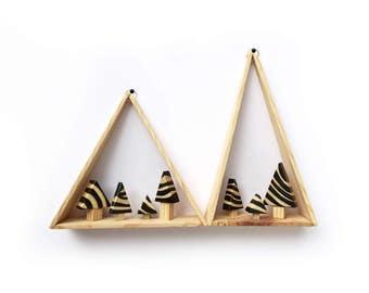 triangle framed miniature safari forest / 2 set / handmade wall hanging