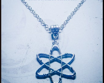 Silver Atom Pendant, Science Jewellery - Chemistry - Atomic - Physics