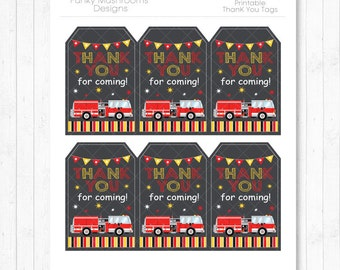 Fire Truck Thank you Card, Fire Truck  thank you note, firefighter thank you tags, firefighter birthday, gist card,INSTANT DOWNLOAD