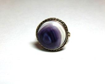 Vintage Taxco 925 Sterling Genuine Quahog Shell Ring - Taxco Mexico Quahog Clam Shell Silver Ring - Taxco Sterling Ring - Unique Quahog Ring
