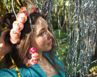 Large Bright Pom Pom Hoop Earrings