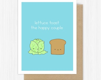 Funny Wedding Card Congratulations For Bride And Groom Happy Couple Engagement Shower Lettuce Toast Cute Handmade Greeting Cards Gift Gifts