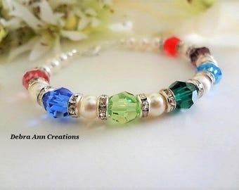 Mothers Birthstone Bracelet Swarovski Crystal Mothers Day Gift for Grandma Bracelet Birthstone Jewelry Family Bracelet Nana Gift for Mom
