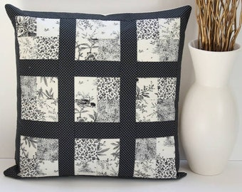 Patchwork Pillow Cover/Patchwork Cushion Cover/Cushion/Pillow/Decorative Pillow Sham/Home Decor Pillow/Black and Ivory/Cotton Pillow Cover