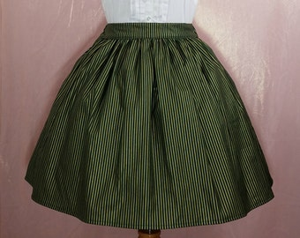 Green and Gold Striped Lolita Skirt