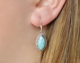 Pointed Oval Beaded Bezel Larimar Earrings