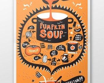 Pumpkin Soup Recipe Tea Towel