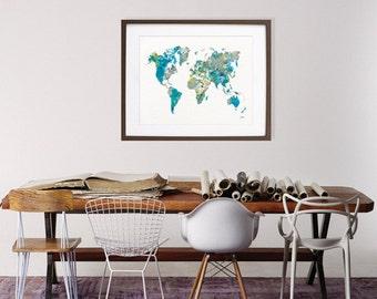 Watercolor Print - 16 x 20 Archival Art Print - Blue World Map Art Print, Blue, Teal, Grey, Yellow - Wall Decor Art Home Decor Housewares