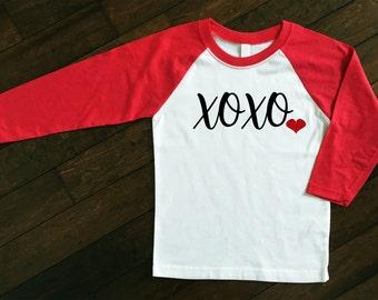 Valentine's Day Raglan | XOXO Shirt | Girls Valentine's Day Shirt | Girls Glitter Raglan | Women's Valentine's Day Shirt | Love Raglan