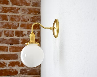 """Free Shipping! Gold Brass Wall Sconce White 6"""" Globe Vanity Mid Century Industrial Modern Art Light UL Listed"""