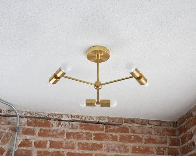 Free Shipping! Modern Chandelier Gold Five 3 Arm 6 Light Pinwheel Bulb Brass Sputnik Mid Century Industrial Hanging Light UL Listed