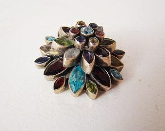 Topaz, Garnet, Peridot Amethyst, Citrine, Sapphire Sterling Silver Pendant/Brooch Indian gems