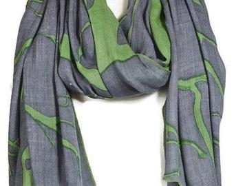 Grey and Green Abstract Tree Print Scarf, Oversized Gray Wrap Shawl, Sarong