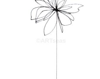 "ORIGINAL Botanical Drawing; Minimalist Flower Drawing, Abstract Flower Drawing; ""Blume"" Textured Canvas Paper"