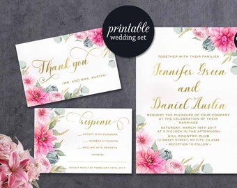 Floral Wedding Invitation Botanical Wedding Invitation Printable Summer Wedding Invitation Boho Greenery Gold Pink wedding Invitation