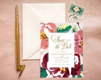Bohemian Save the Date Cards in Gold Marsala and Blush