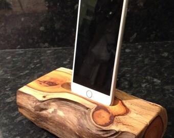Log dock - natural wood phone dock & charger