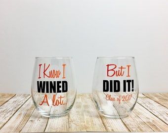 I know i wined / graduation gift / graduation / class of 2017 / graduation wine / college grad gift / graduate / grad gift / college grad