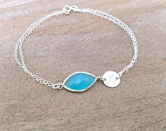 letter bracelet initial bracelet monogram initial mint gemstone aquamarine ocean blue personalized bracelet custom letter jewelry 925 silver