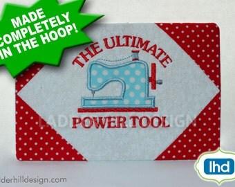 ITH Mug Rug Embroidery Design -- The Ultimate Power Tool Machine Embroidery Design -- Sewing Machine ITH Mug Rug MR019