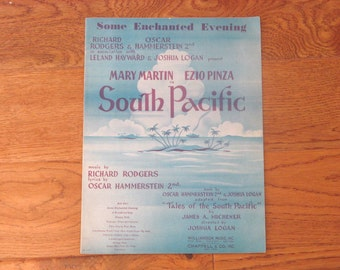 Vintage 1949 Sheet Music, Some Enchanted Evening, South Pacific, Rodgers Hammerstein 2nd, Small Format, FREE SHIPPING