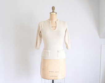 50s oatmeal cashmere pin-up pocket sweater