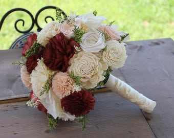 Burgundy & Blush Sola Flower Bouquet, Burgundy, Blush Pink, and Cream Wedding Bouquet, Burgundy Sola Bouquet, Burgundy and Pink Bouquet