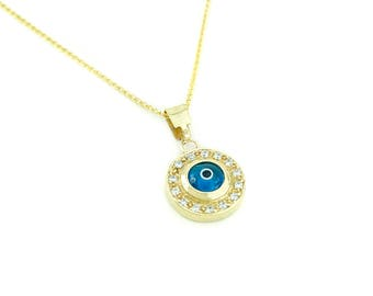 14K Gold Greek Evil Eye Pendant. 14K Yellow Solid Gold. White Zirconia. Protection and Good Luck Charm