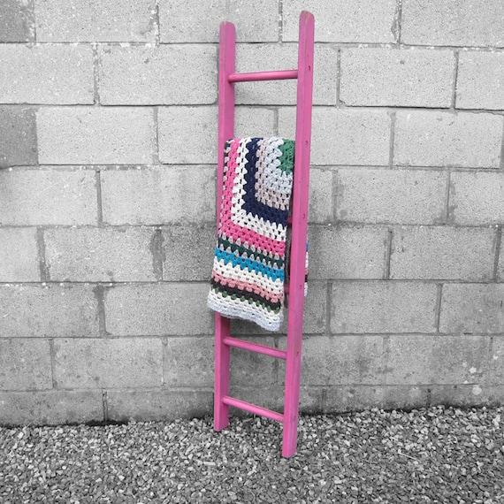 Rustic Painted Pink Ladder Blanket Wall Rack Utensils