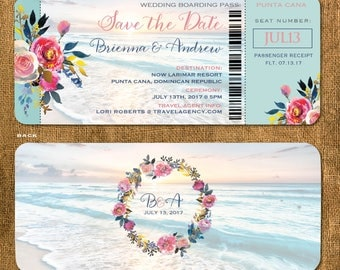 Boho Beach Boarding Pass Save the Date | Rose Gold Calligraphy | Floral Bohemian Design | Wedding in Mexico Jamaica Punta Cana