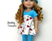 14 inch doll clothes AG doll clothes ladybug flared top turquoise white pindots capris & hat made to fit like wellie wishers doll clothes
