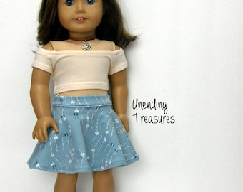 18 inch doll clothes made to fit like american girl doll clothes ivory off shoulder crop top and skater skirt AG doll clothes