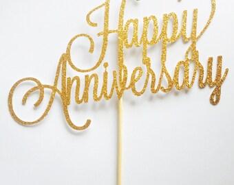 Happy Anniversary Cake Topper - Assorted Colours - Anniversary - Love - Celebration - Milestone - Marriage